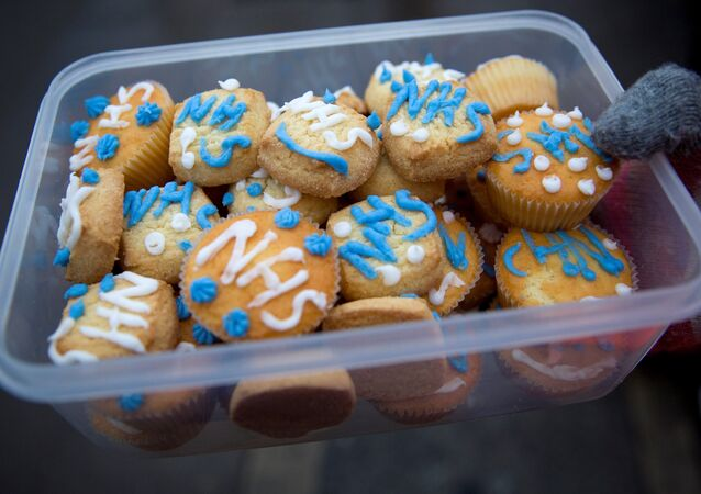 A demonstrator holds a tupperware of cakes with NHS (National Health Service) written on them outside Maudsley Hospital during a 24-hour strike by junior doctors over pay and conditions in London on February 10, 2016.