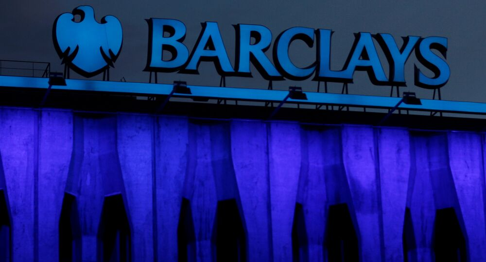 The logo of Barclays is seen on the top of one of its branch in Madrid, Spain, March 22, 2016.
