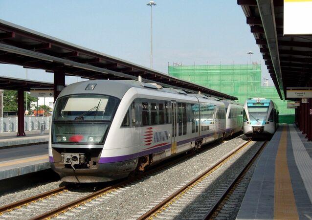 Proastiakos suburban trains at Piraeus railway station