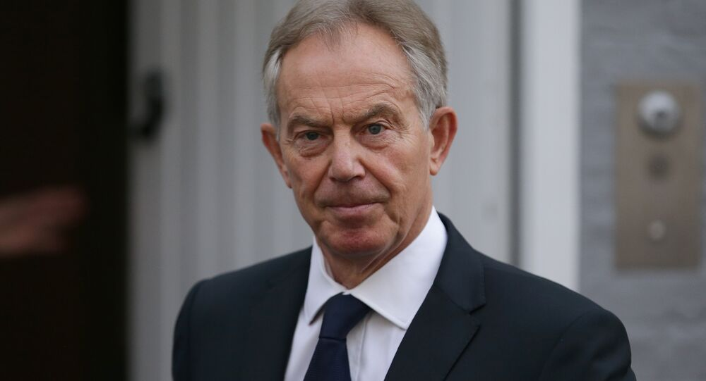 Former British Prime Minister Tony Blair leaves his home in London on July 6, 2016