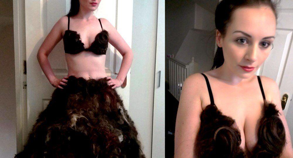 Dress made of human hair by designer Sarah Louise Bryan.