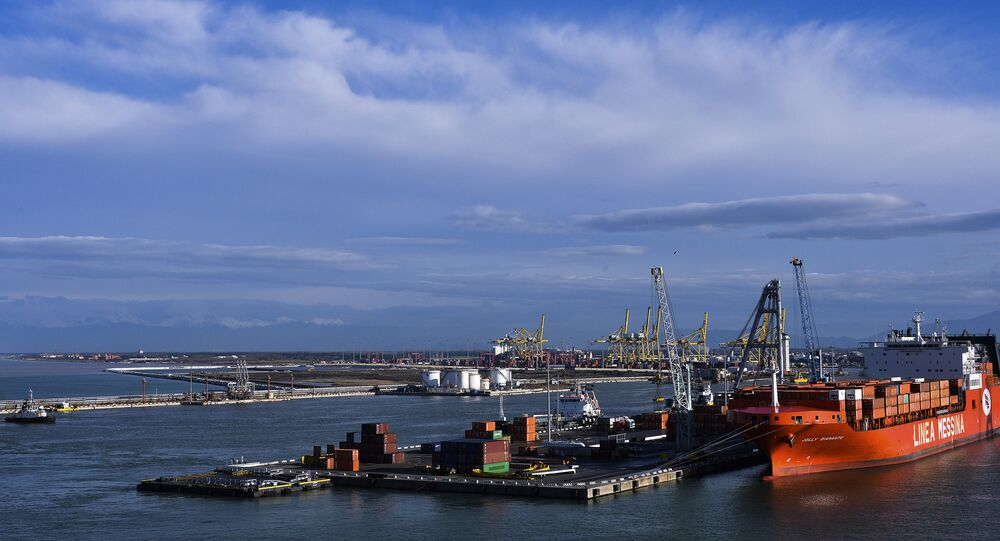 Ships in the port of Livorno (Tuscany).