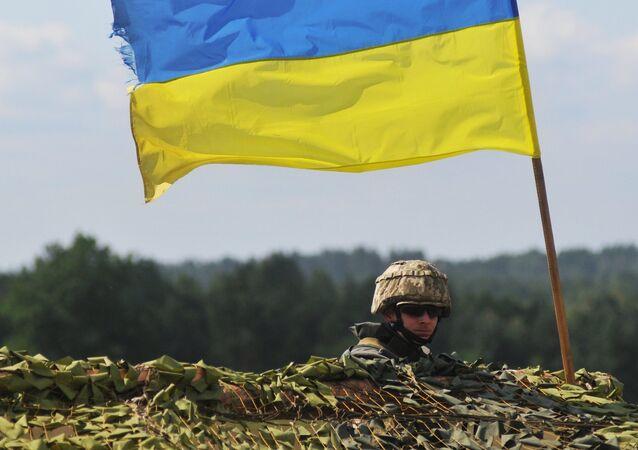 A Ukrainian soldier