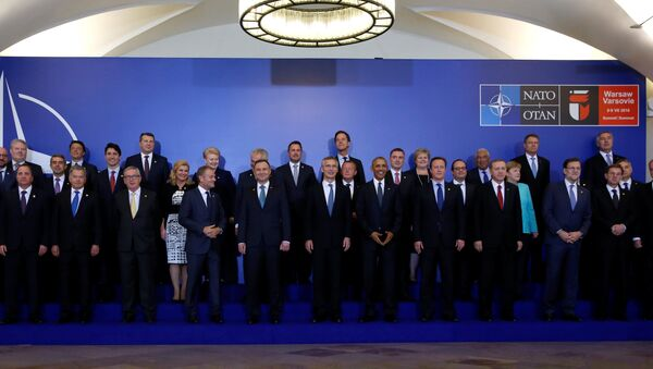 NATO Summit leaders gather for a family photo before a working dinner at the Presidential Palace in Warsaw, Poland July 8, 2016. - Sputnik International