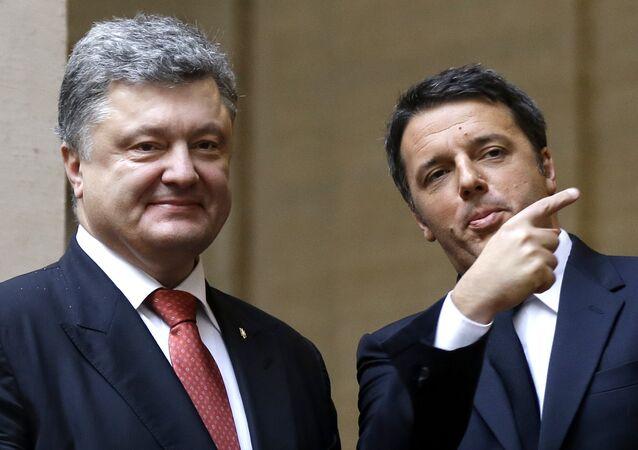 Italian President Matteo Renzi, right, meets with Ukrainian President Petro Poroshenko.