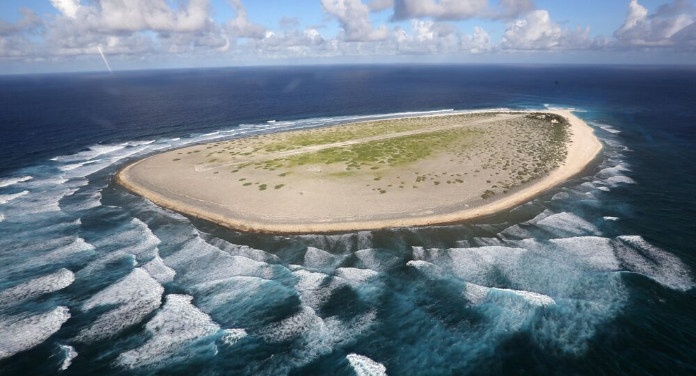 Aerial view shows the Tromelin Island
