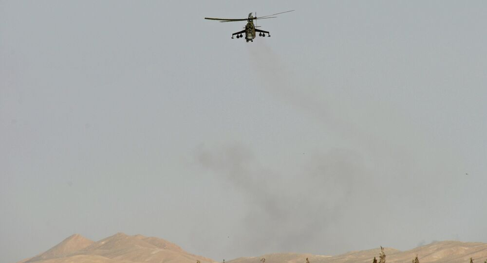 A Mi 24 helicopter of the Syrian army in the vicinity of Palmyra, Syria.