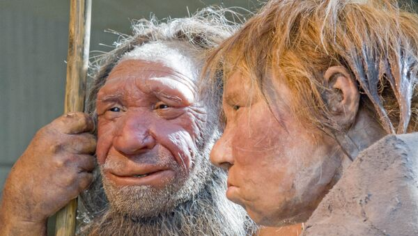 The prehistoric Neanderthal man N, left, is visited for the first time by another reconstruction of a homo neanderthalensis called Wilma, right, at the Neanderthal museum in Mettmann, Germany, Friday, March 20, 2009 - Sputnik International