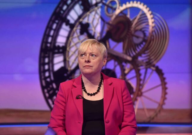 Former Labour Party Business policy chief Angela Eagle speaks on the BBC's Sunday Politics show in this photograph received via the BBC in London, Britain July10, 2016