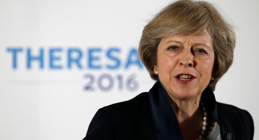 Britain's Home Secretary Theresa May speaks during her Conservative party leadership campaign at the Institute of Engineering and Technology in Birmingham, England, Britain July 11, 2016.