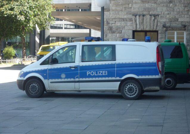 A police van in Stuttgart