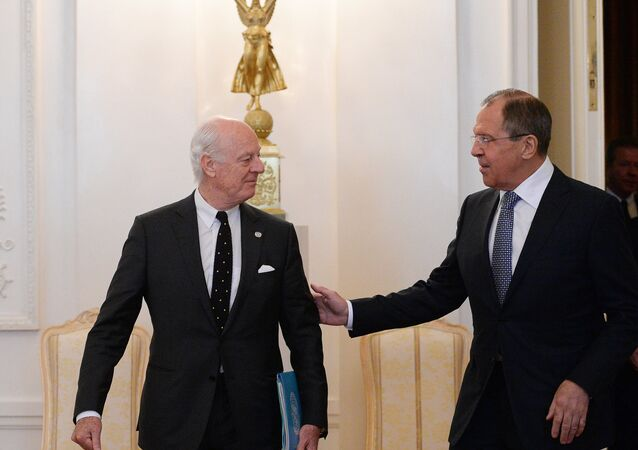 Russian Foreign Minister Sergei Lavrov meets with UN Special Envoy for Syria Staffan de Mistura (File)