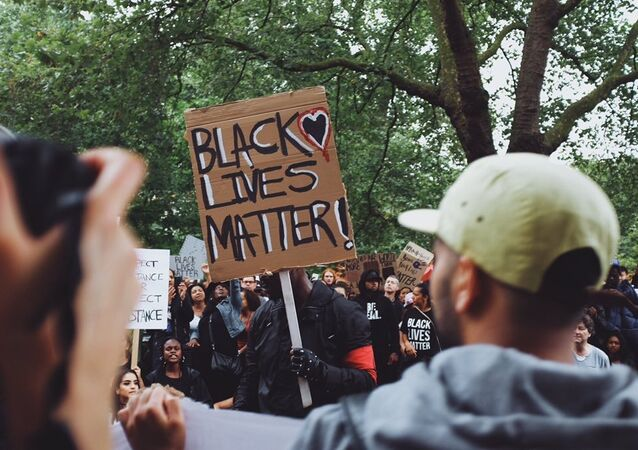 Black Lives Matter Protest in London after killings of black men in the US.