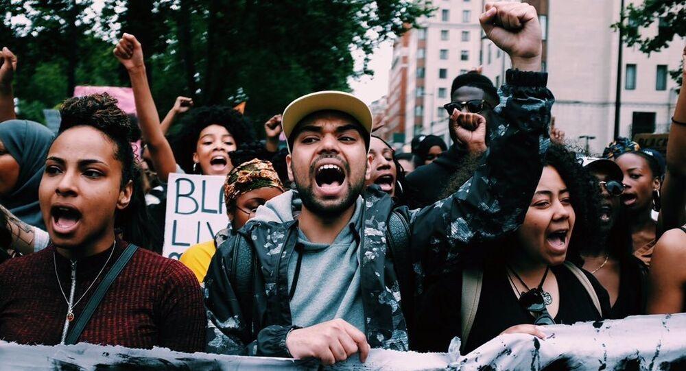 Black Lives Matter Protest in London after killings of black men in the US.