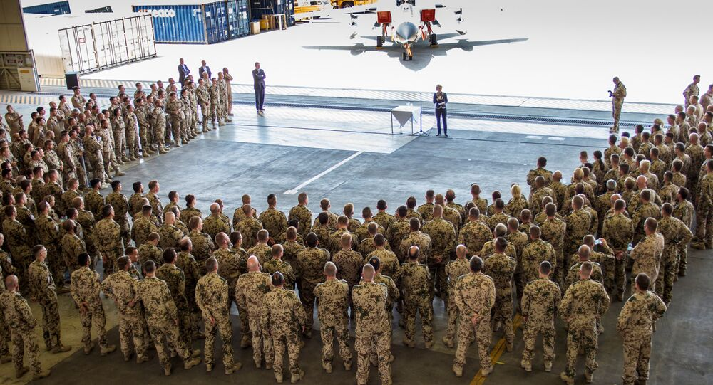 German Defence Minister Ursula von der Leyen addresses the Counter DAESH contingent at Incirlik airbase in the southern city of Adana, Turkey, July 1, 2016
