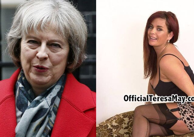 Future British PM Theresa May (L) and adult film star Teresa May (R)