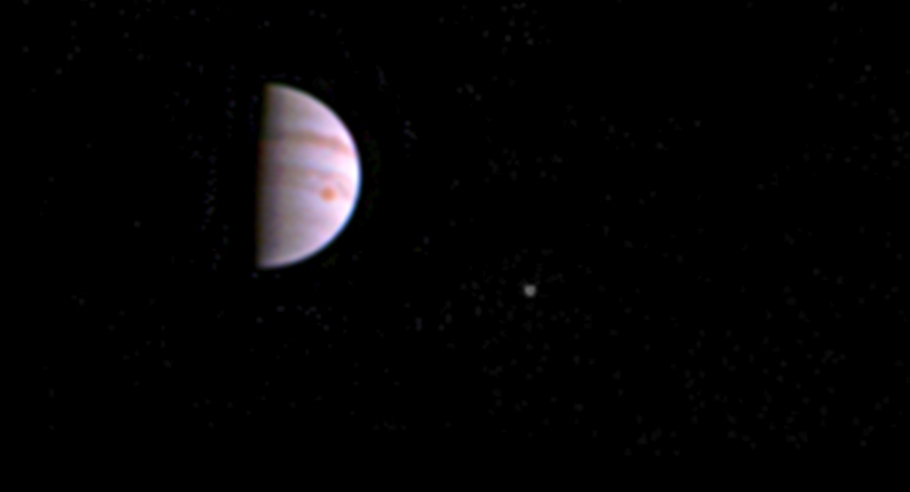 NASA's Juno probe of Jupiter captured this image on 10 July 2016, less than a week after entering orbit around the giant planet.