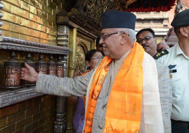 Nepalese Prime Minister KP Sharma Oli spins prayer wheels (File)