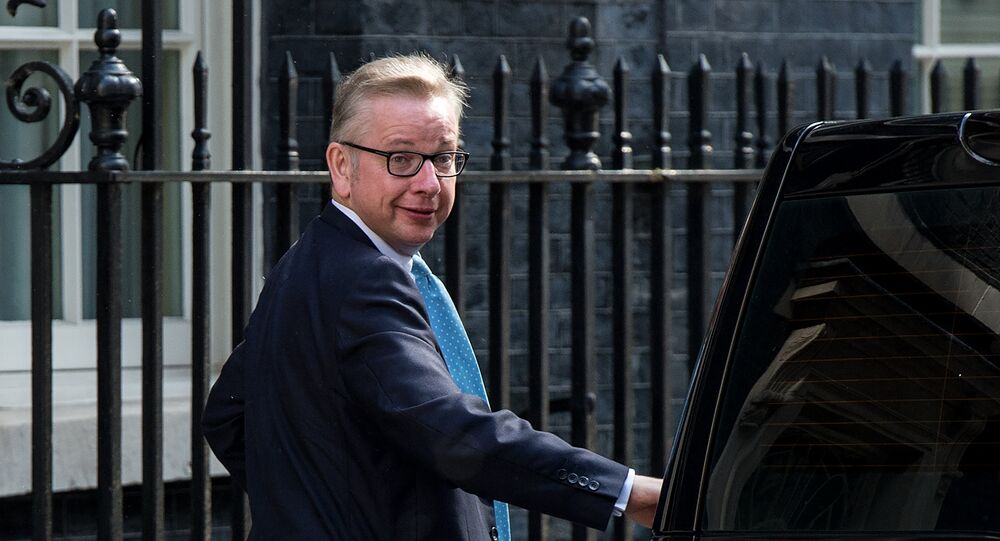 Britain's Justice Minister Michael Gove arrives in Downing Street in London on July 12, 2016, as he prepares to attend Prime Minister David Cameron's last Cabinet meeting. David Cameron chairs his final cabinet meeting on Tuesday after six years as Britain's prime minister, with incoming premier Theresa May preparing to form a new government to deliver Brexit