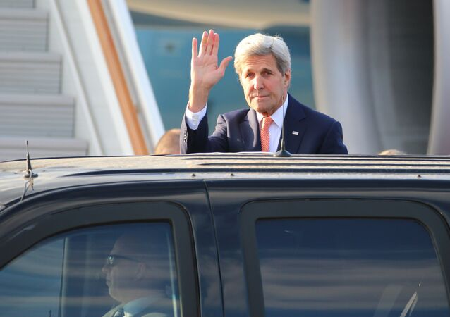 US Secretary of State John Kerry arrives at Vnukovo 2 airport as he makes a visit to Moscow