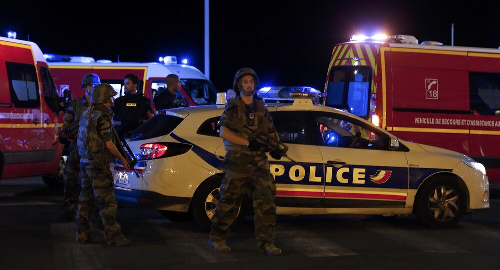 French soldiers and rescue forces in Nice, France, July 14, 2016.