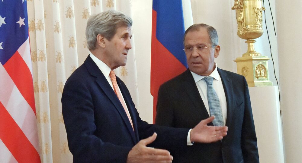 Russian Foreign Minister Sergei Lavrov, right, and US Secretary of State John Kerry at a meeting in Moscow.