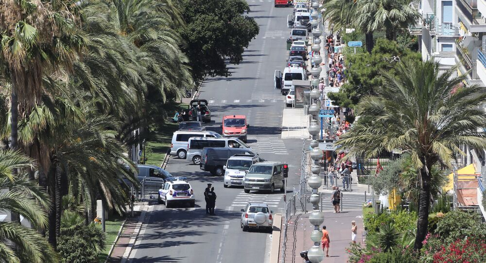 A photo taken on July 15, 2016 shows a police barricade set up at the site in Nice where a gunman smashed a truck into a crowd of revellers celebrating Bastille Day, killing at least 84 people.
