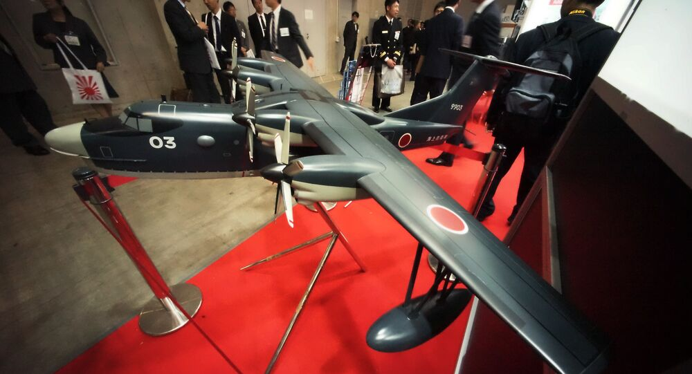 A scale model of US-2, Japan-made search-and-rescue amphibian plane.