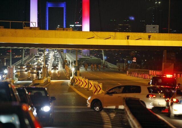 Turkish soldiers block Istanbul's iconic Bosporus Bridge on Friday, July 15, 2016.
