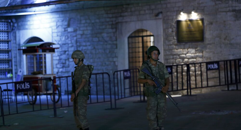 Turkish military stand guard near the the Taksim Square in Istanbul