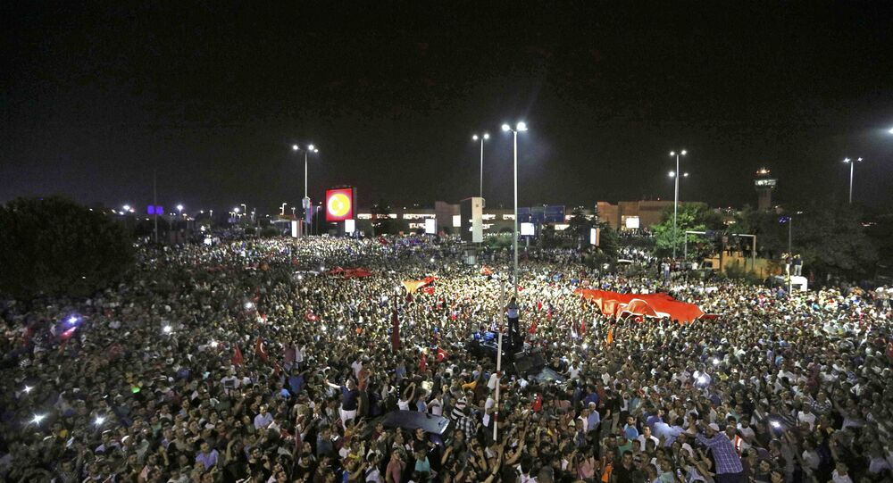 People Demonstrate Outside Ataturk International Airport During An Attempted Coup In Istanbul