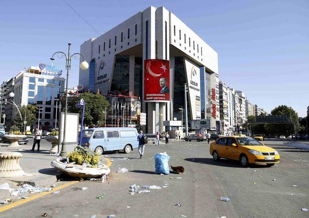 A portrait of Turkish President Tayyip Erdogan is seen on a building in Ankara, Turkey July 16, 2016