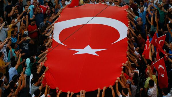 People gather at a pro-government rally in central Istanbul's Taksim square, Saturday, July 16, 2016. - Sputnik International