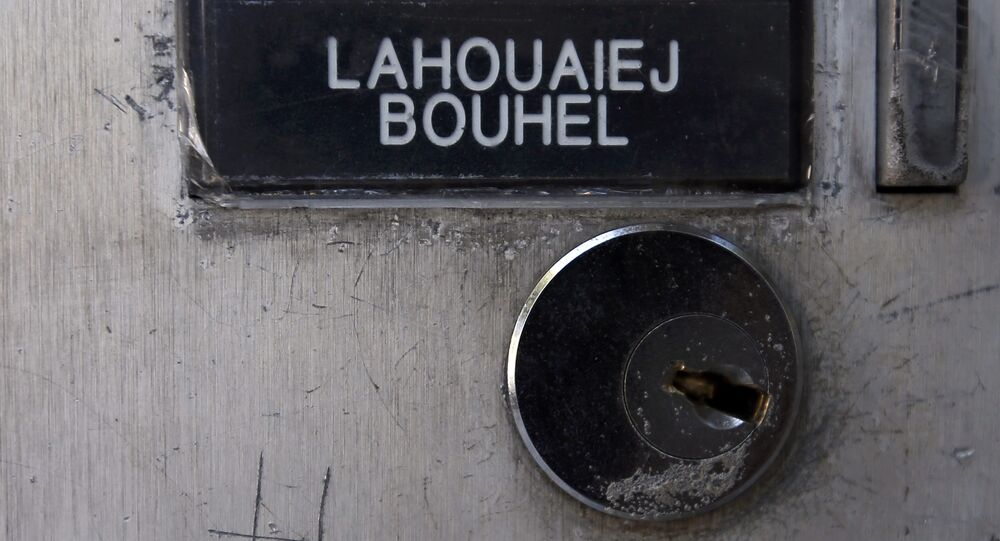 The name Mohamed Lahoualej Bouhlel is seen on a plate outside the building where he lived in Nice, France, July 17, 2016. Tunisian Mohamed Lahouaiej Bouhlel, aged 31, was the driver of the heavy truck that ran into a crowd in an attack along the Promenade des Anglais on Bastille Day killing scores and injuring as many.