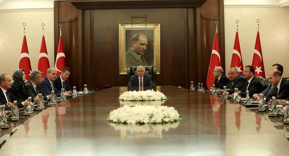 Turkish Prime Minister Binali Yildirim chairs a cabinet meeting in Ankara, Turkey, July 18, 2016.