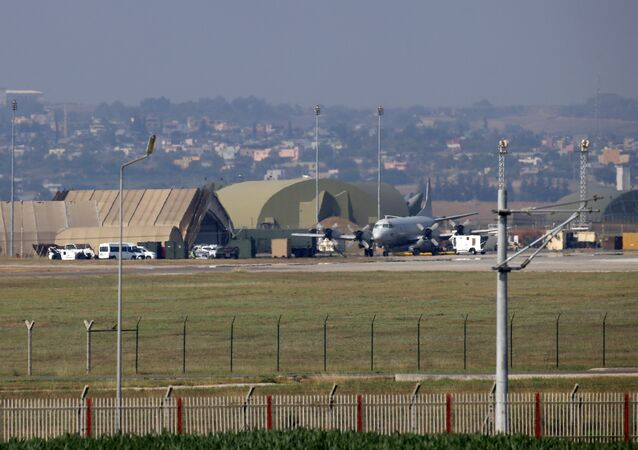 A military aircraft is pictured on the runway at Incirlik Air Base, in the outskirts of the city of Adana, southeastern Turkey