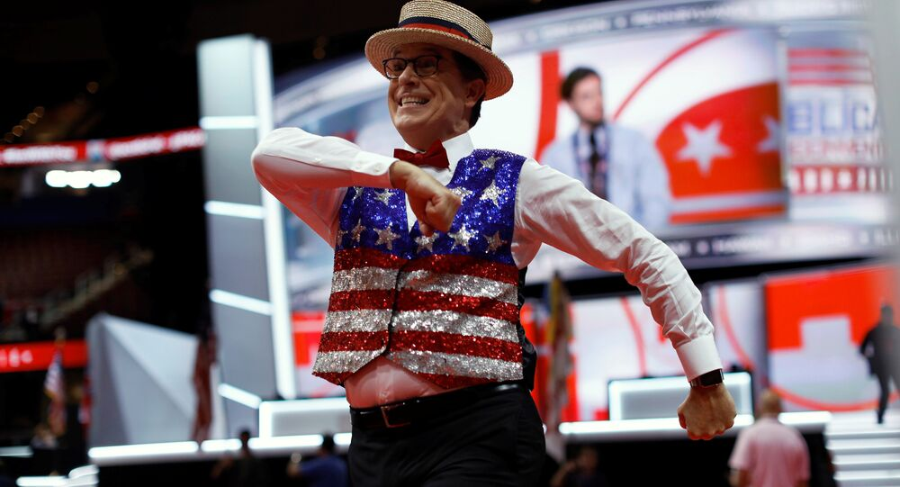 Television host Stephen Colbert records a skit on the floor of the Republican National Convention in Cleveland, Ohio, U.S., July 17, 2016