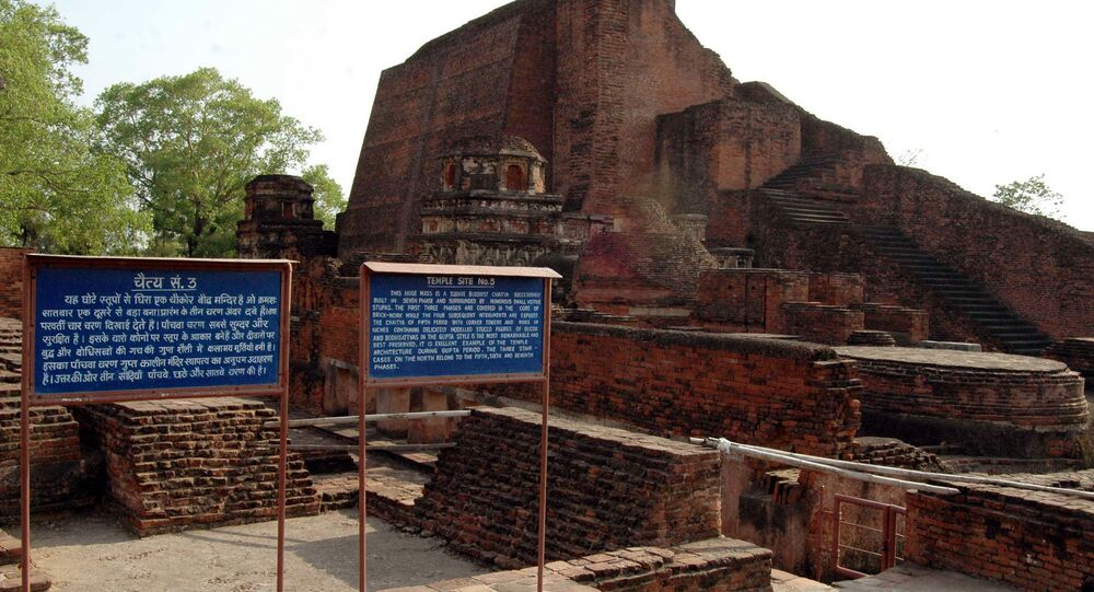Ruins of Nalanda University some 90 kms from Bihar state capital Patna