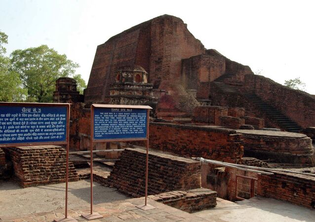 Ruins of Nalanda University some 90 kms from Bihar state capital Patna