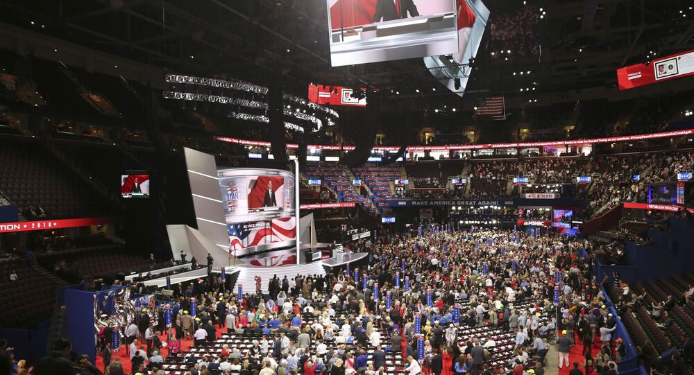 Republican National Committee Chairman Reince Priebus addresses the start of the first session of the Republican National Convention in Cleveland, Ohio.