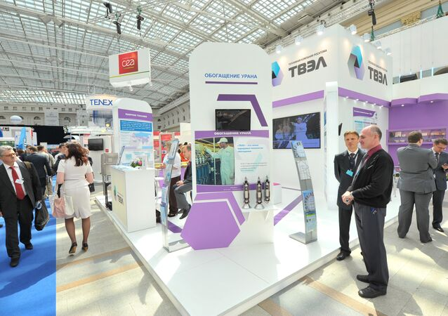 Participants of the 4th International Forum ATOMEXPO at the stand of Fuel Company TVEL set up at the specialized exhibition of nuclear industry and related sectors organizations