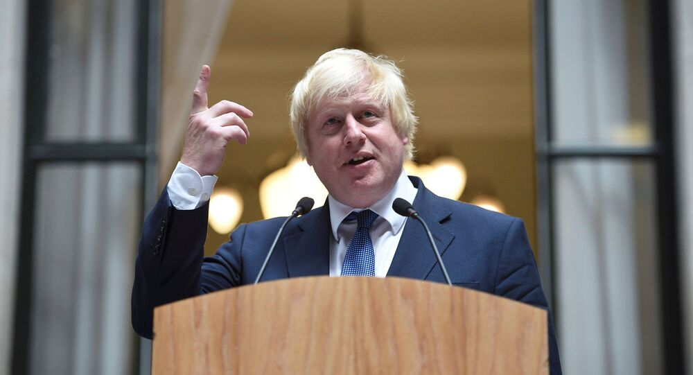 Britain's Foreign Secretary Boris Johnson addresses staff inside the Foreign Office in London, July 14, 2016