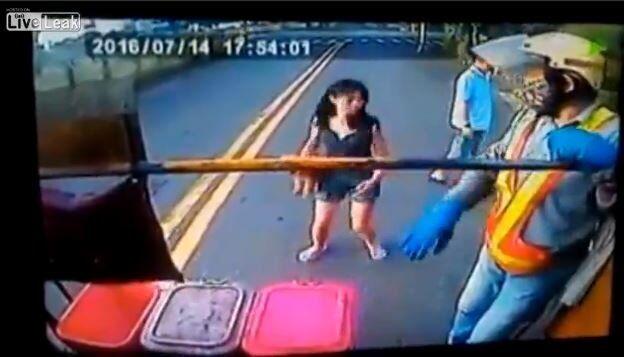 Woman faceplants during garbage pickup day in Taiwan