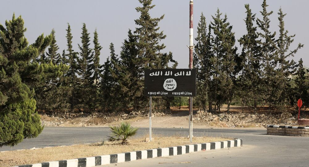 An Islamic State (IS) group flag is seen on a road in the jihadist's group bastion of Manbij, in northern Syria (File)