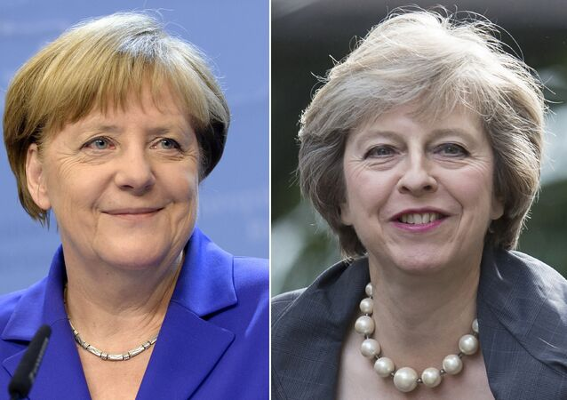 This combination of pictures created on July 13, 2016 shows (R) Britain's Home Secretary and new leader of the Conservative Party Theresa May arriving in Downing Street in London on July 12, 2016 and German Chancellor Angela Merkel smiling as she addresses the media at the end of the second day of an EU - Summit at the EU headquarters in Brussels on June 29, 2016.