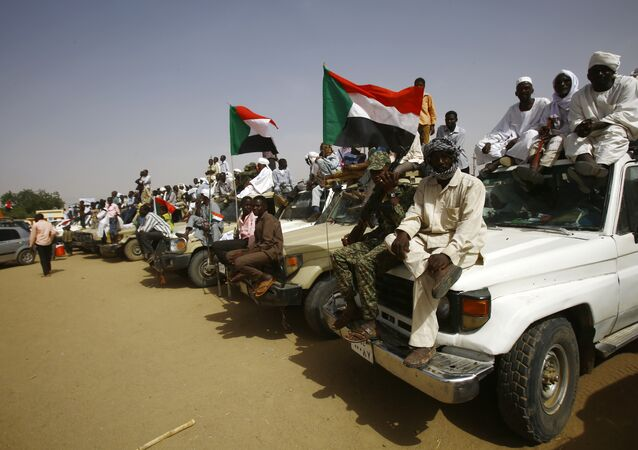 Sudanese wave national flags during a rally organised during the visit of the Sudanese president in the town of Zalingei, capital of Central Darfur state on April 3, 2016