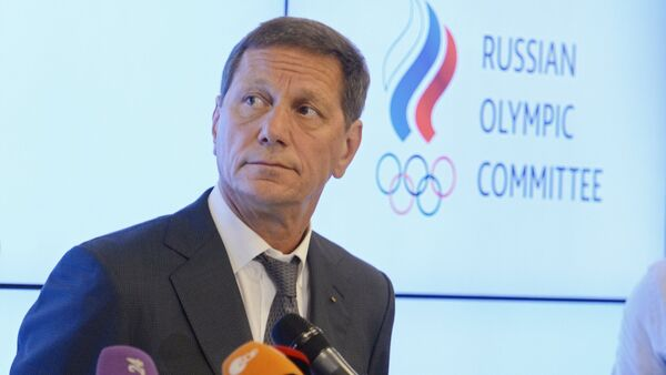 President of the Russian Olympic Committee Alexander Zhukov is interviewed by journalists following a meeting of the Russian Olympic Committee's Executive Committee in Moscow - Sputnik International