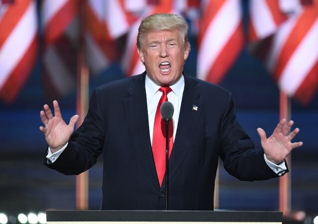 US Republican presidential candidate Donald Trump accepts the nomination on the last day of the Republican National Convention on July 21, 2016, in Cleveland, Ohio.