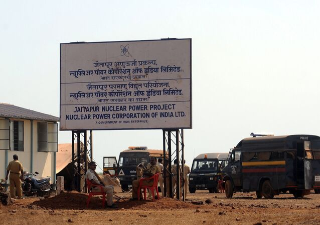 Police officers guard the proposed site of the Nuclear Power Project near Jaitapur, some 400 kilometres (250 miles) south of Mumbai (File)