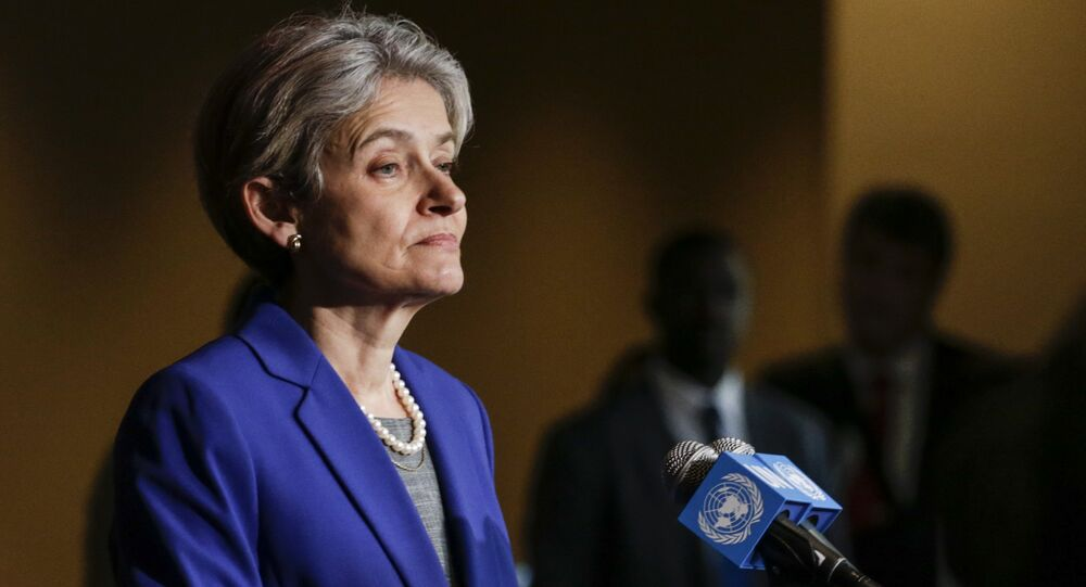 Irina Bokova speaks with reporters on the selection of the next UN Secretary-General at the UN headquarters in New York. file photo